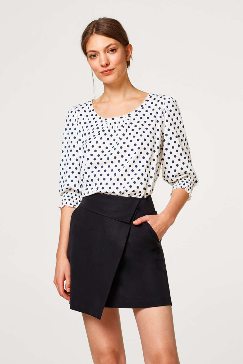 edc - Blousey jersey top with polka dots