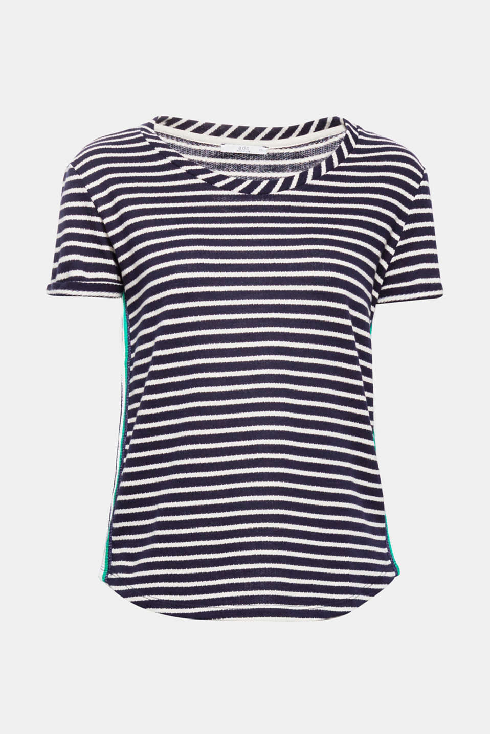 The slightly thicker jersey, two-tone, all-over stripes and the appliquéd racing stripes on the sides give this cotton top a trendy, sporty look!