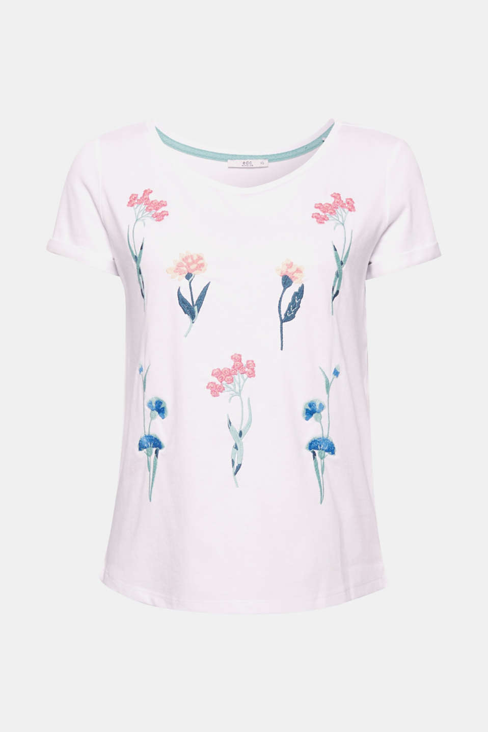 The perfectly positioned, embroidered flower motifs make this soft, smooth T-shirt special, unique and eye-catching!