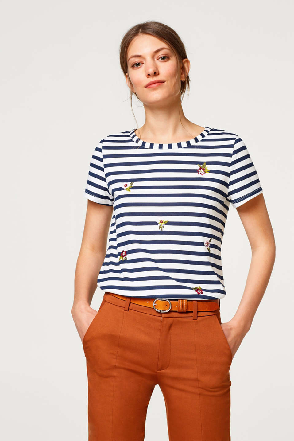 edc - Striped T-shirt with floral embroidery