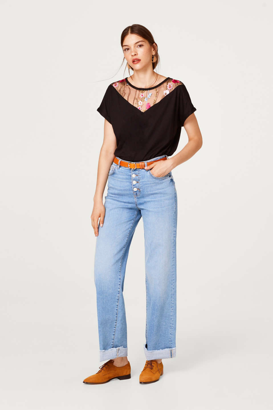 T-shirt with a floral embroidered mesh yoke