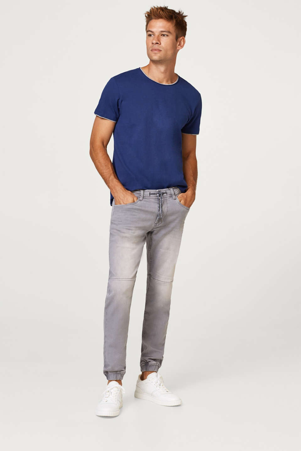 Super stretch jeans with hem borders