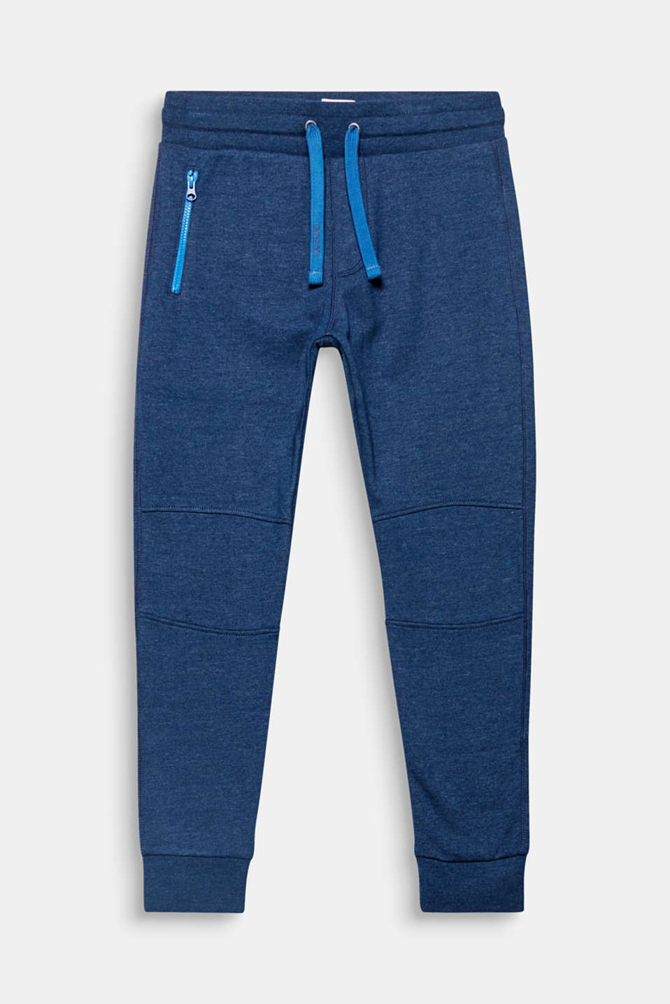 The jazzy drawstring ties and zip give these sweat tracksuit bottoms a modern look.
