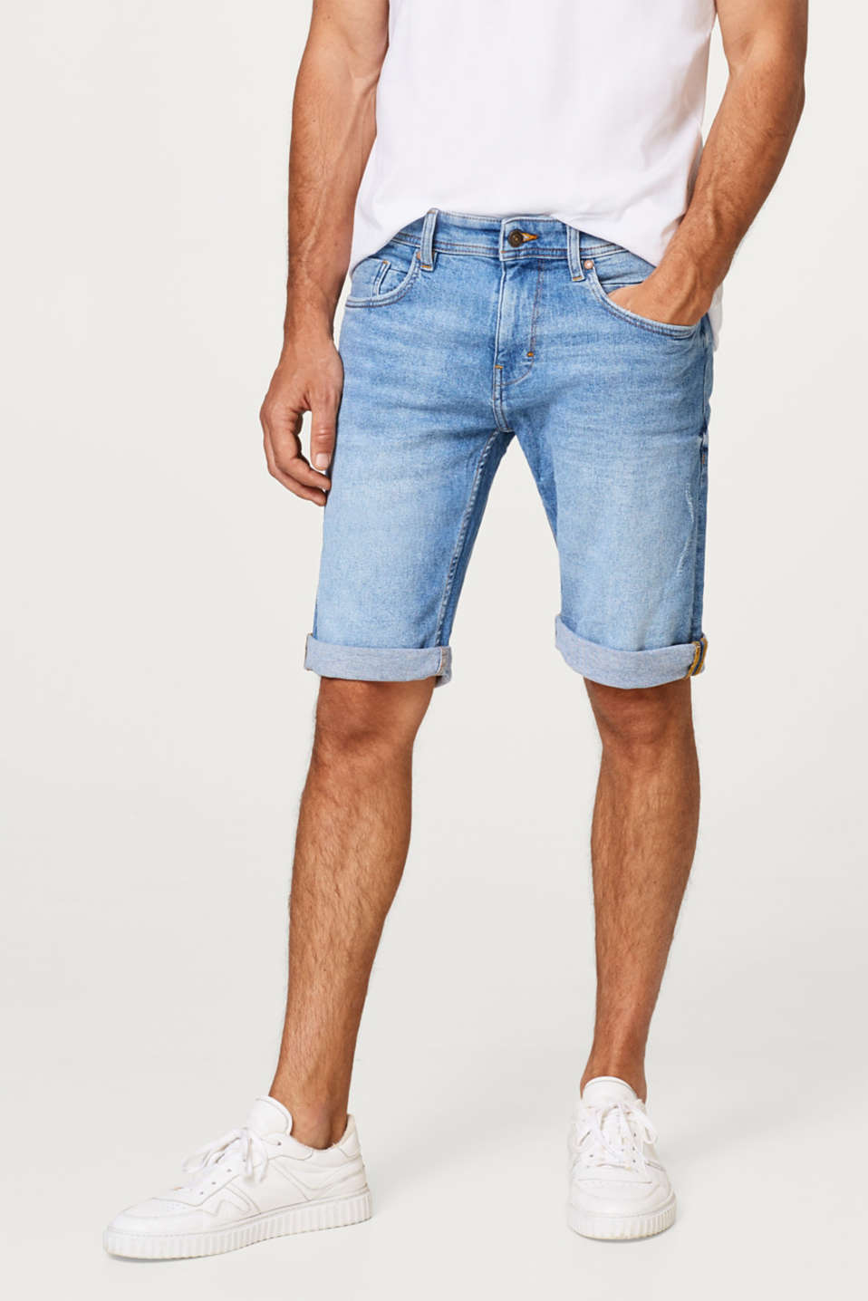 edc - Stretch denim shorts with a bleached effect