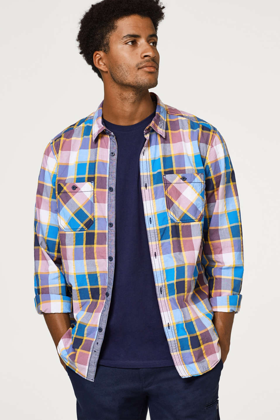 edc - Shirt with a check pattern, 100% cotton