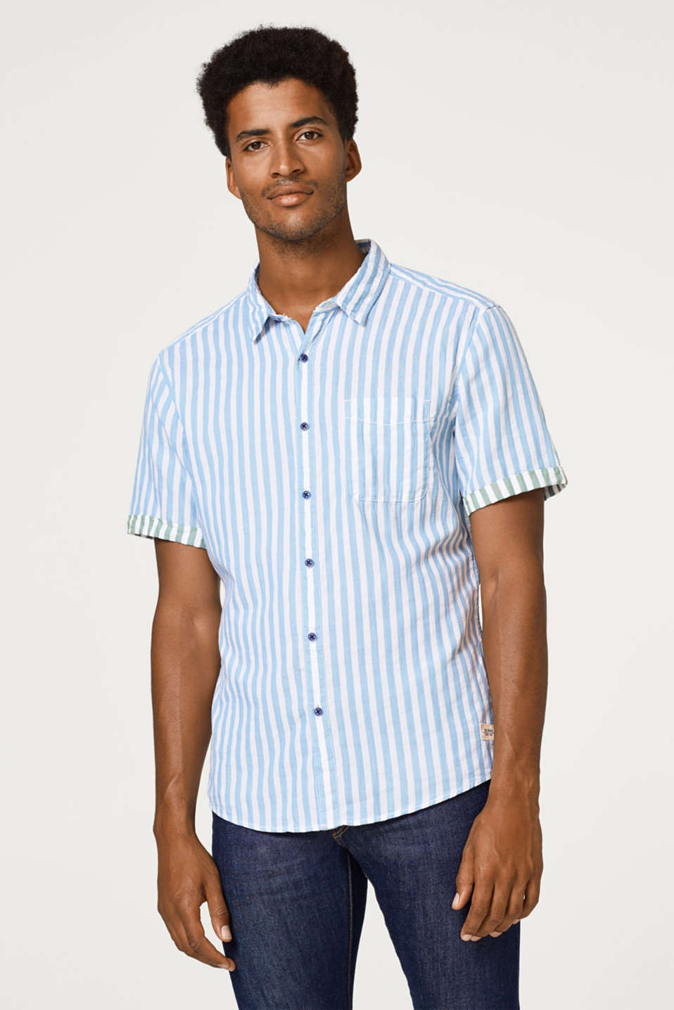 edc - Short sleeve shirt with stripes, 100% cotton