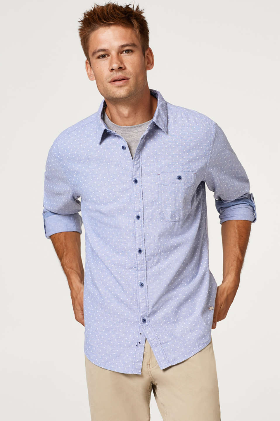 edc - Linen blend: shirt with an all-over print