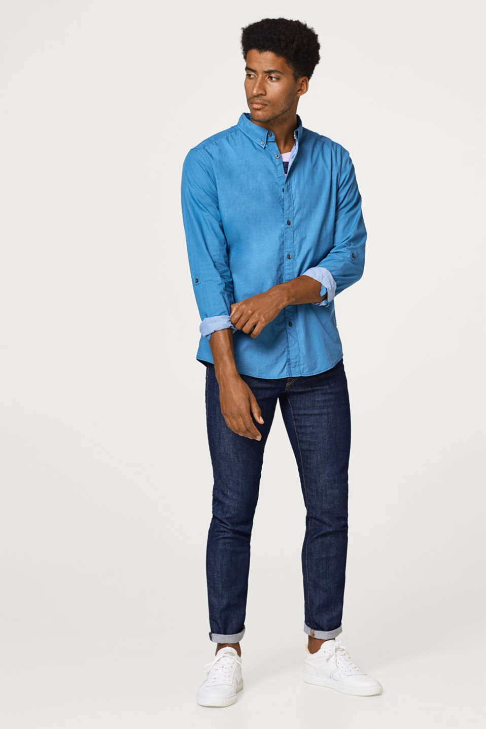 Shirt with button-down collar, 100% cotton