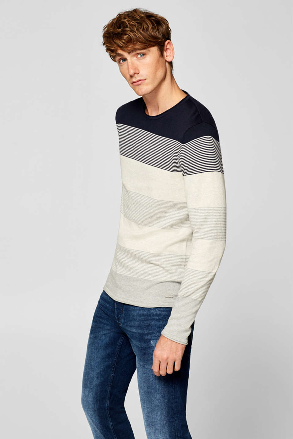 edc - Fine knit jumper with block stripes