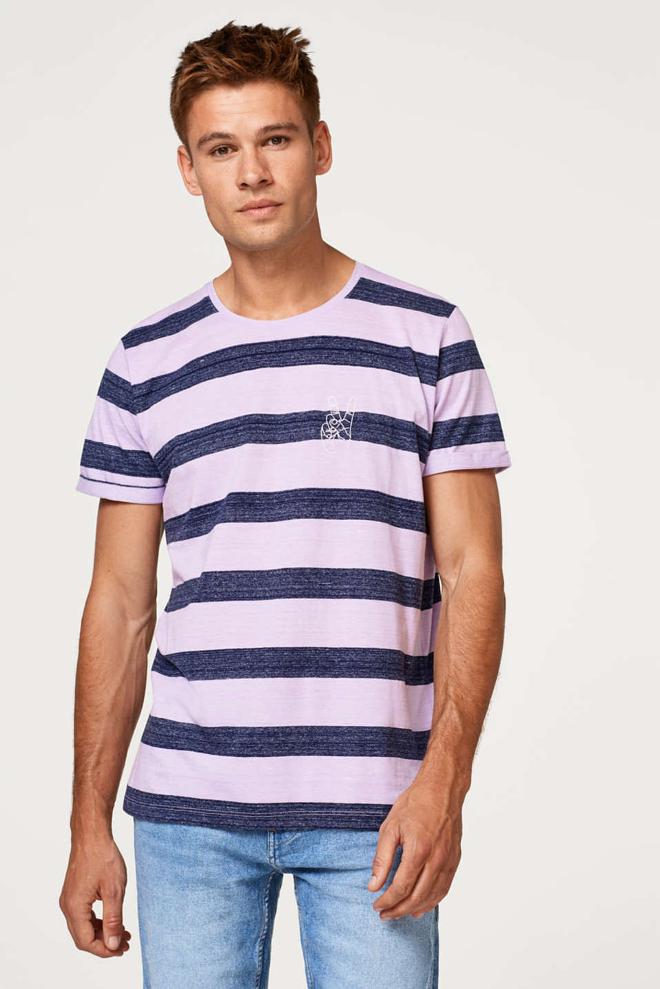 edc - Jersey T-shirt with stitching and stripes