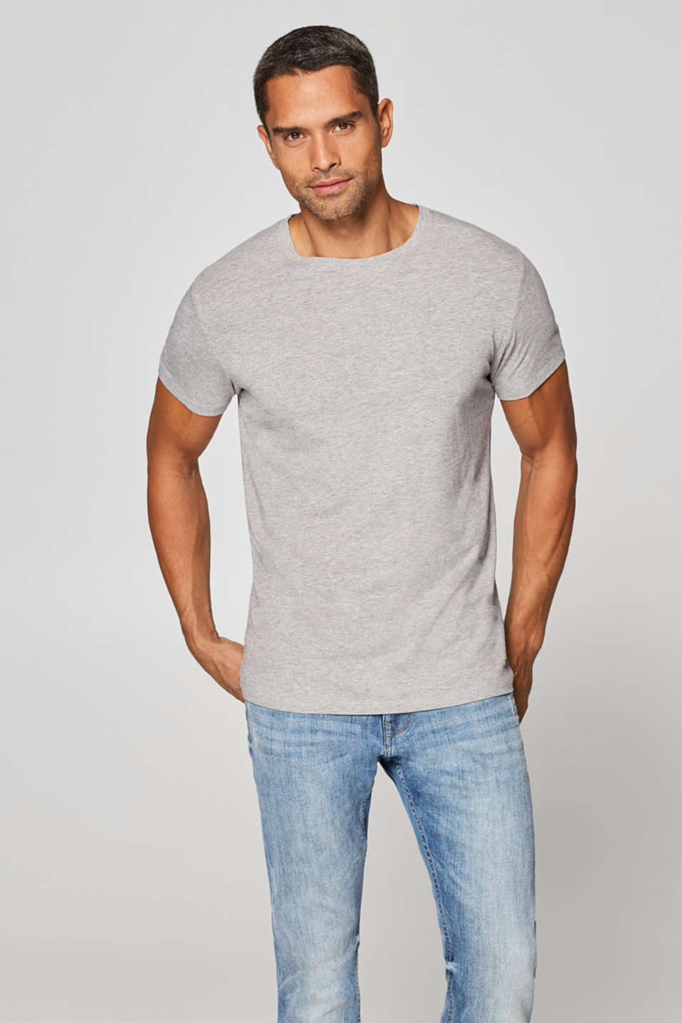 edc - Melange jersey T-shirt with stretch