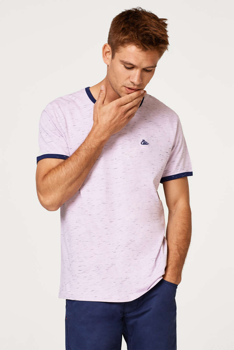 edc - Jersey T-shirt with colour contrast piping