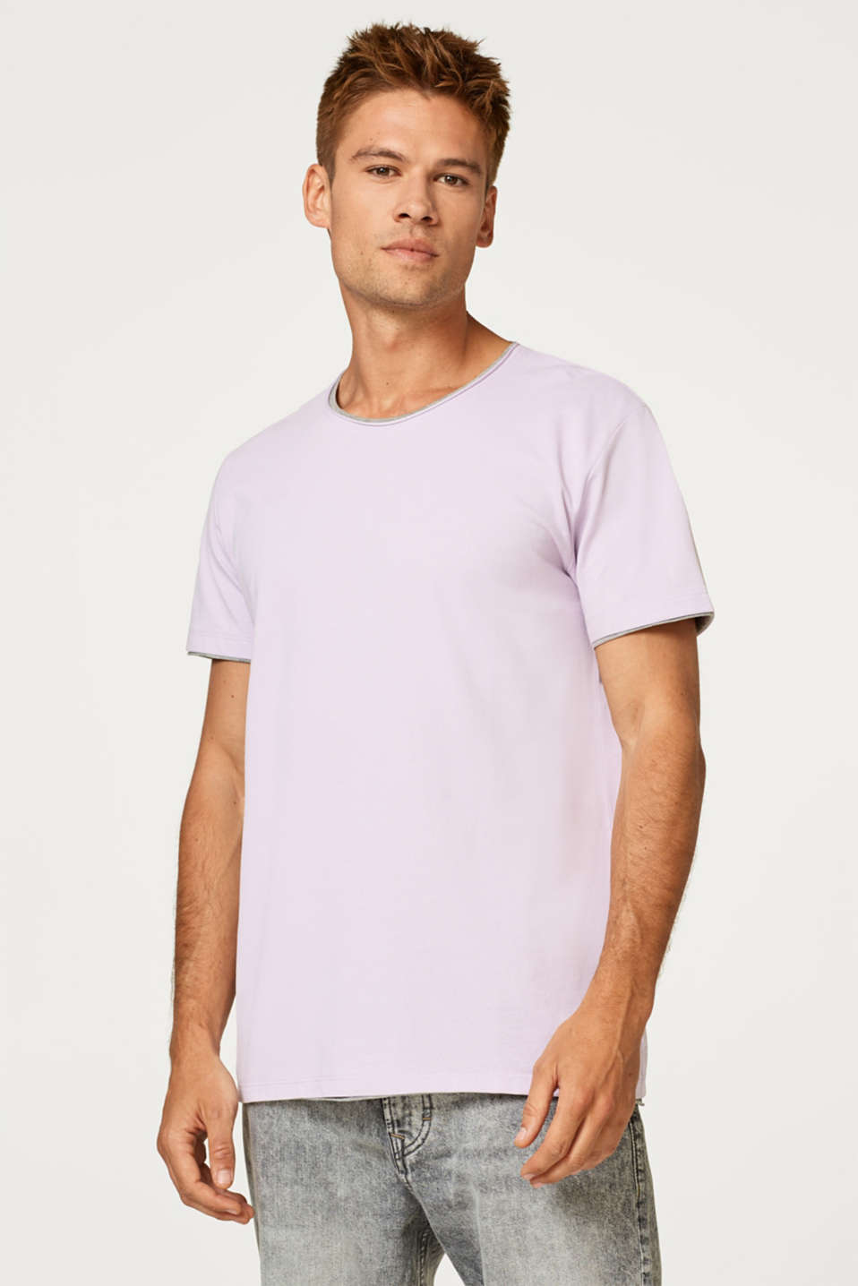 edc - Layered-effect piqué T-shirt, 100% cotton