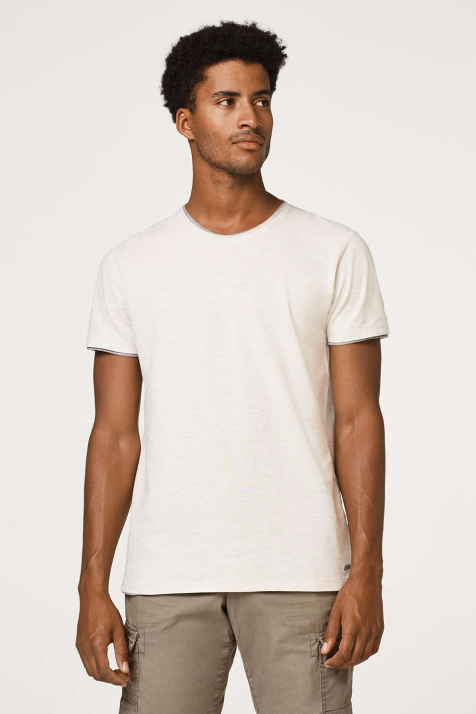 edc - Piqué t-shirt with a layered effect, made of blended cotton