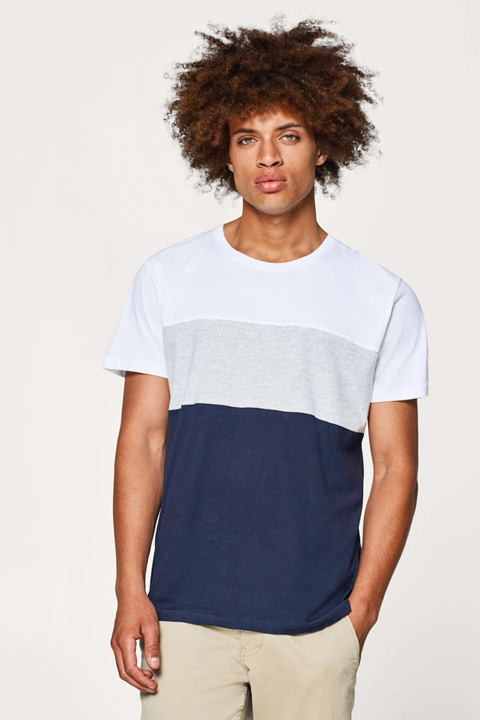 edc - Colour block jersey T-shirt, cotton blend