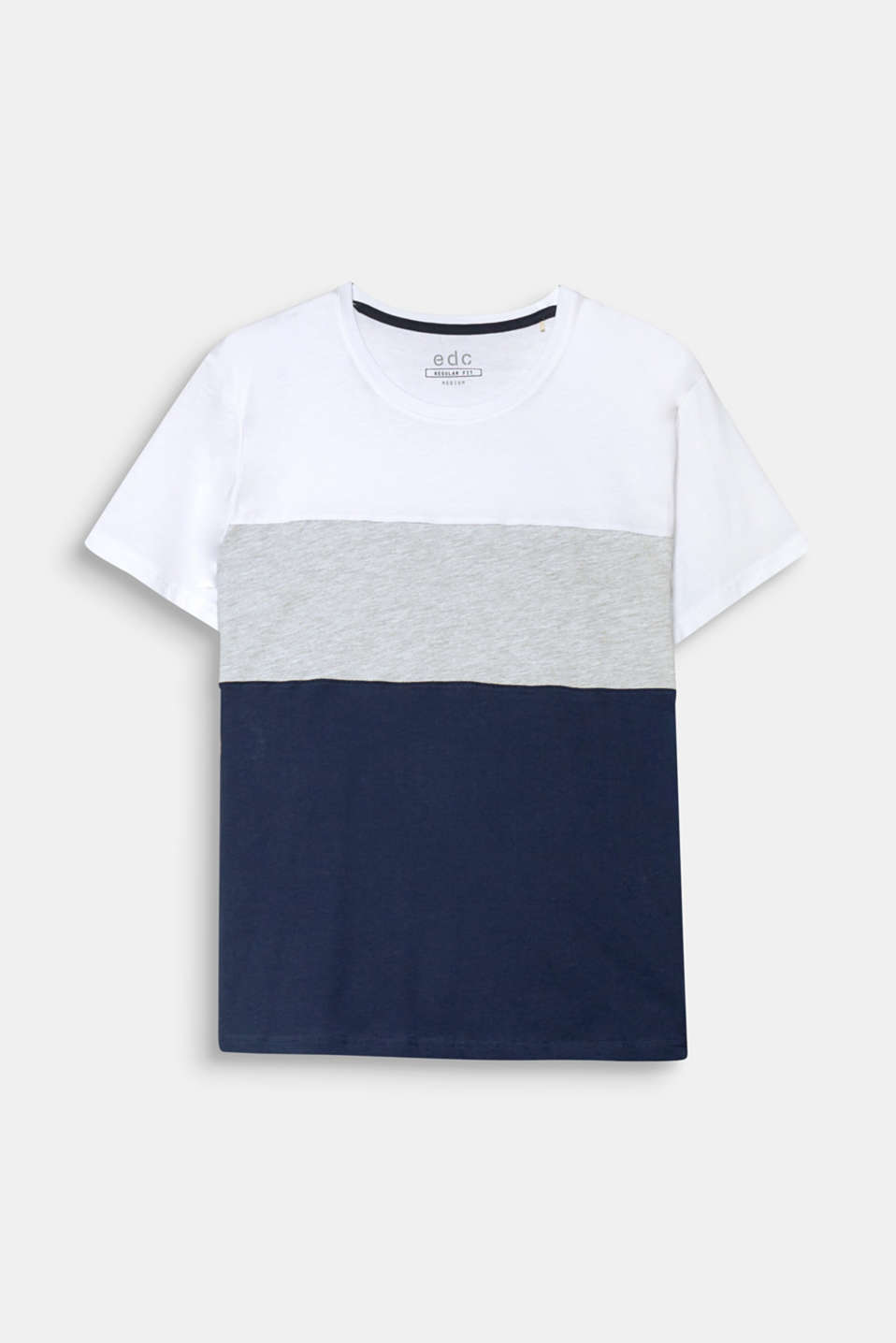 Plain-coloured jersey meets melange jersey: Block stripes with an exciting mix of textures adorn this T-shirt.