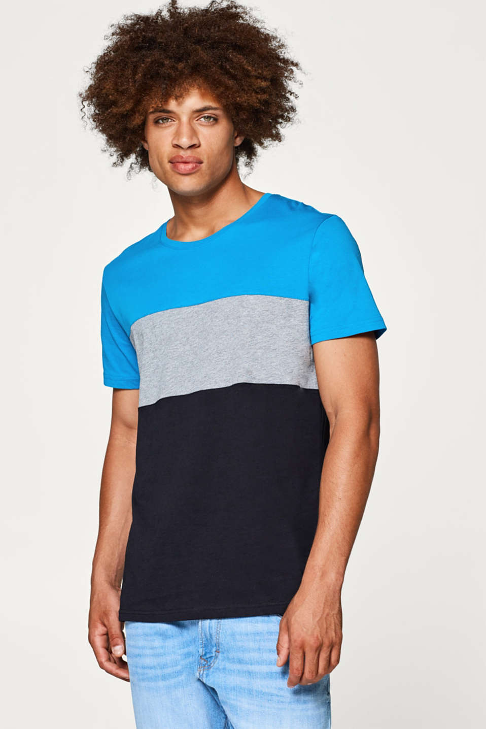 edc - Jersey T-shirt with block stripes, 100% cotton
