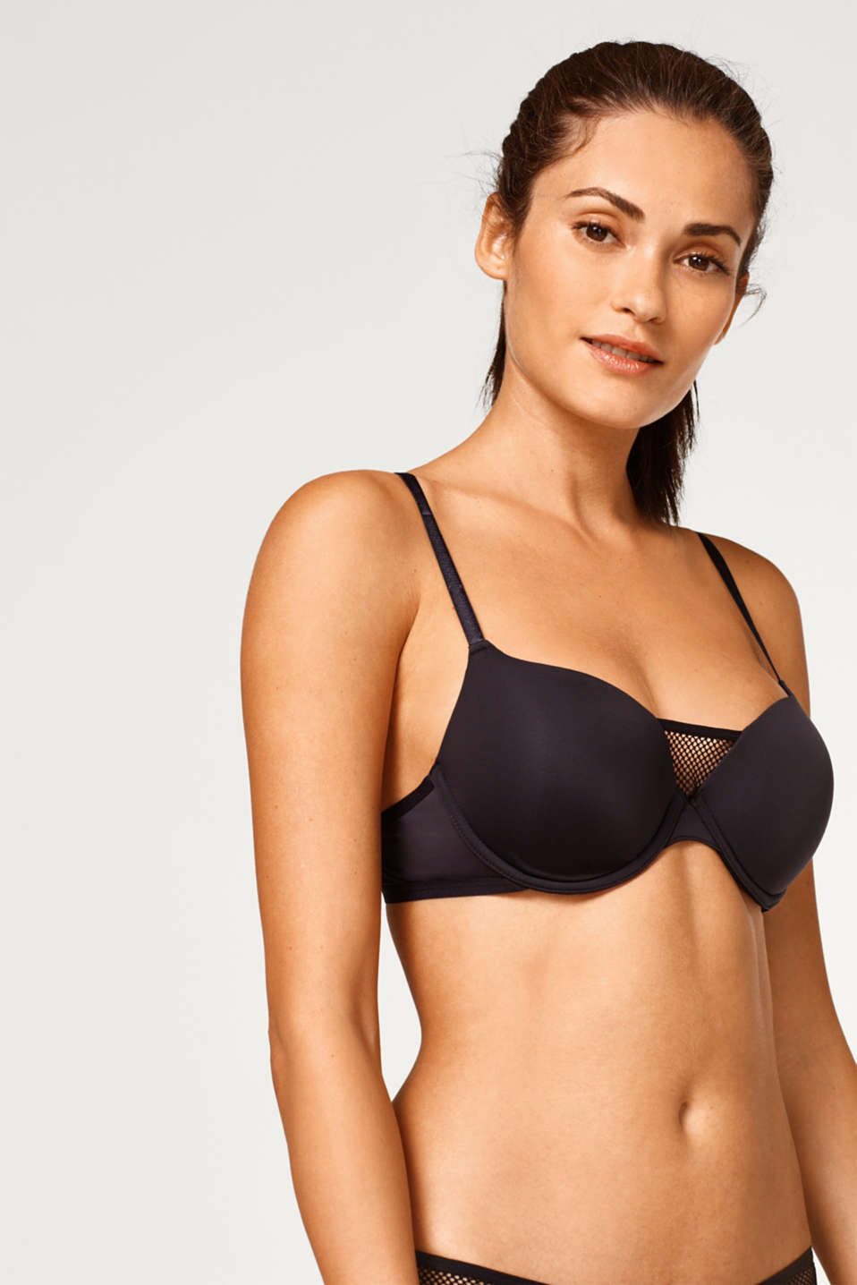 edc - Padded underwire bra with mesh and cross-over straps
