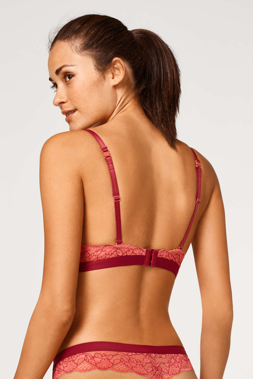 Push-up bra in two-tone lace