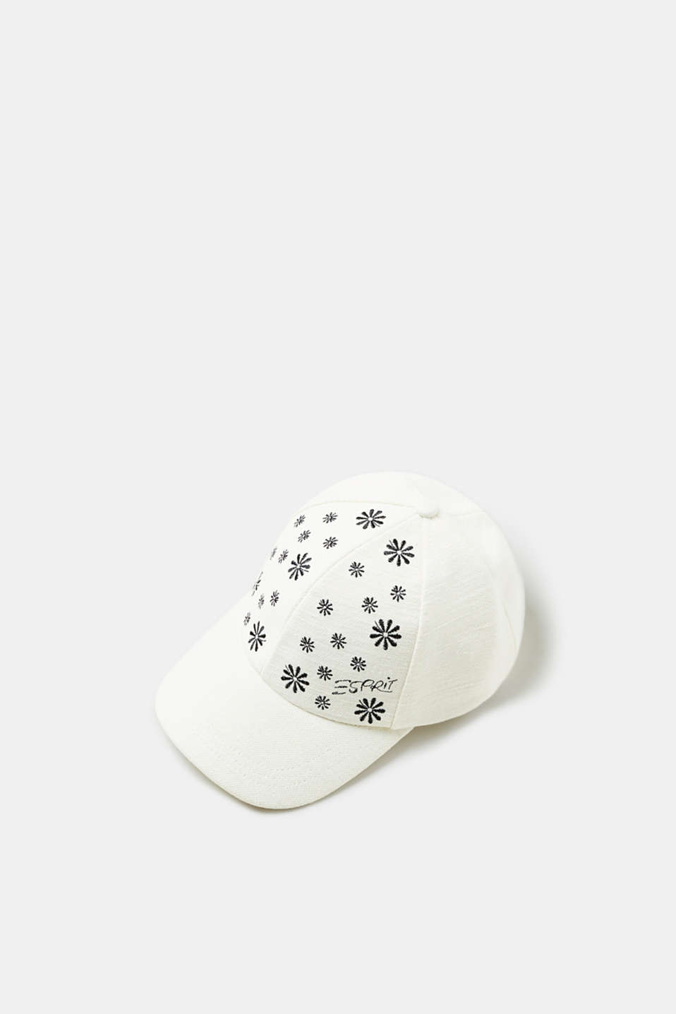 Esprit - Embroidered cap composed of a cotton/jute blend
