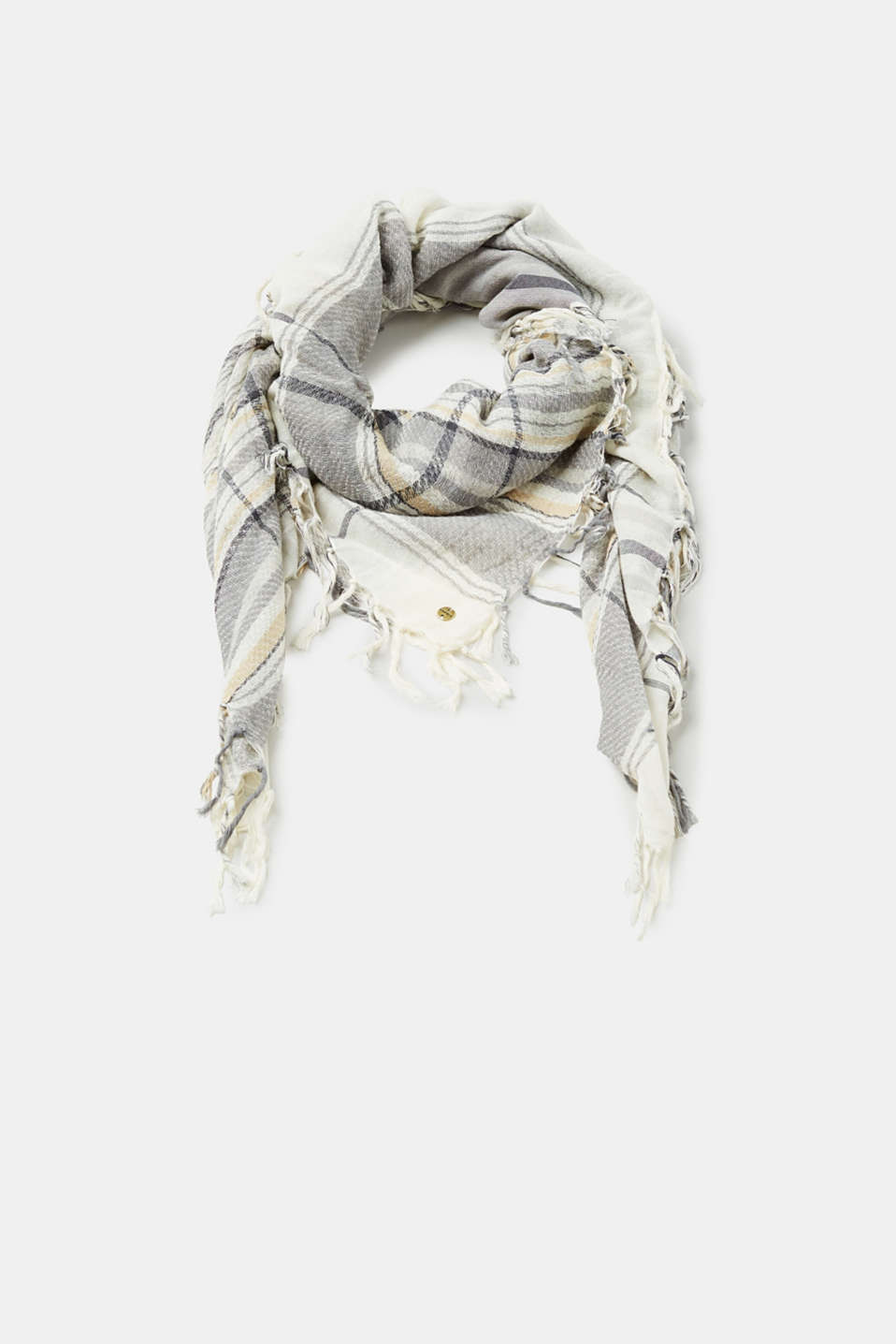 Esprit - Scarf with a check pattern, 100% cotton