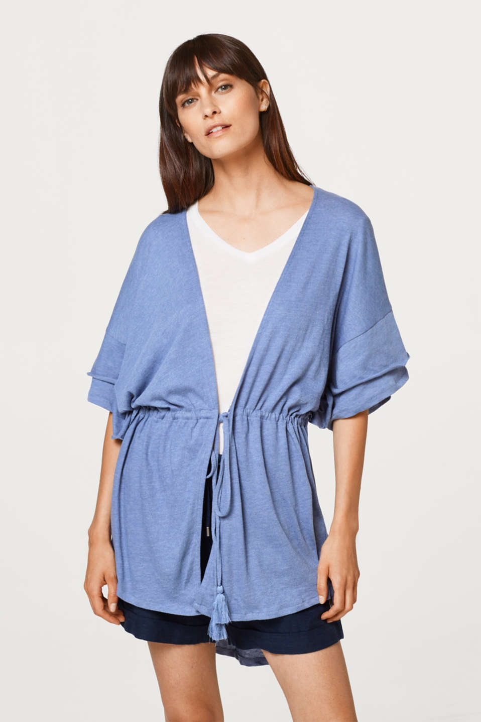 Jersey poncho with layered sleeves