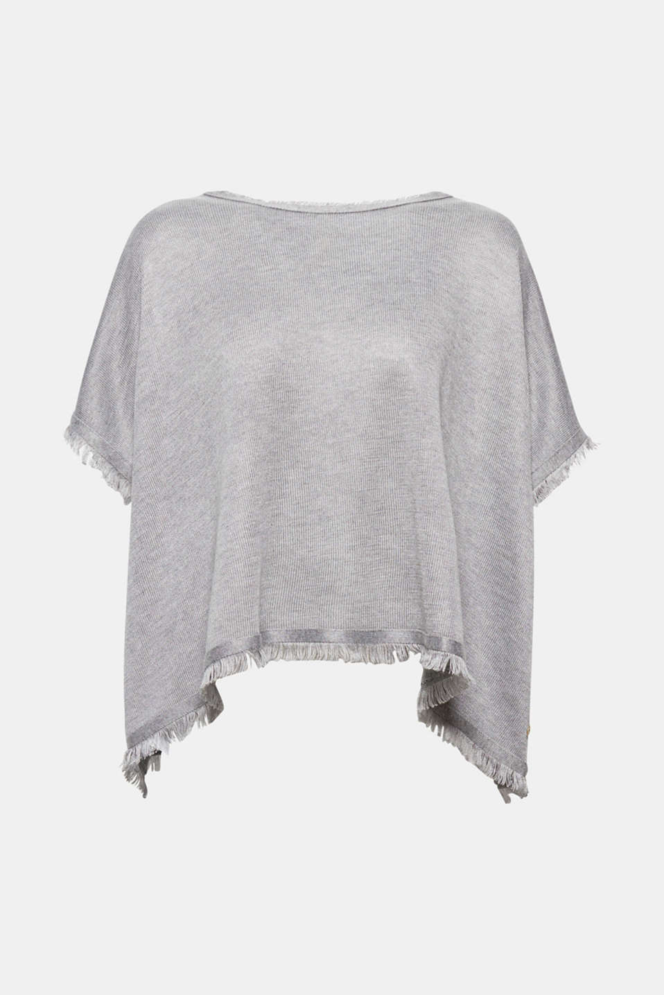Esprit - Poncho with fine fringing
