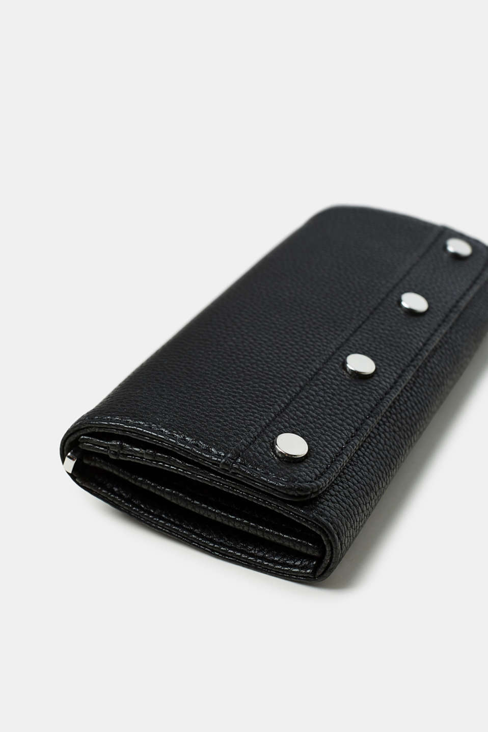 Wallet with decorative studs, in faux leather
