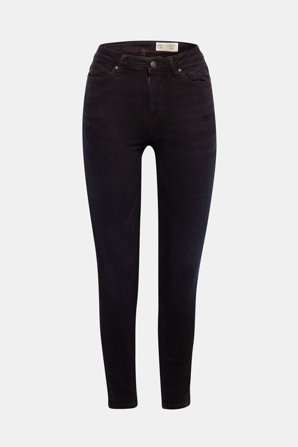 These clean, black stretch jeans with a slim-fitting design and a high waistband create a wonderful silhouette!