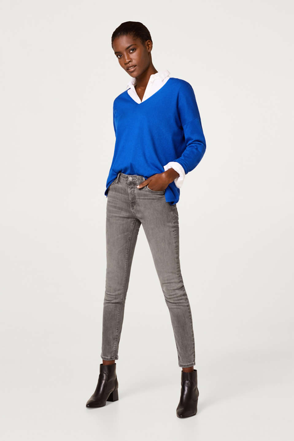 Esprit - Cropped shaping jeans in stretch denim