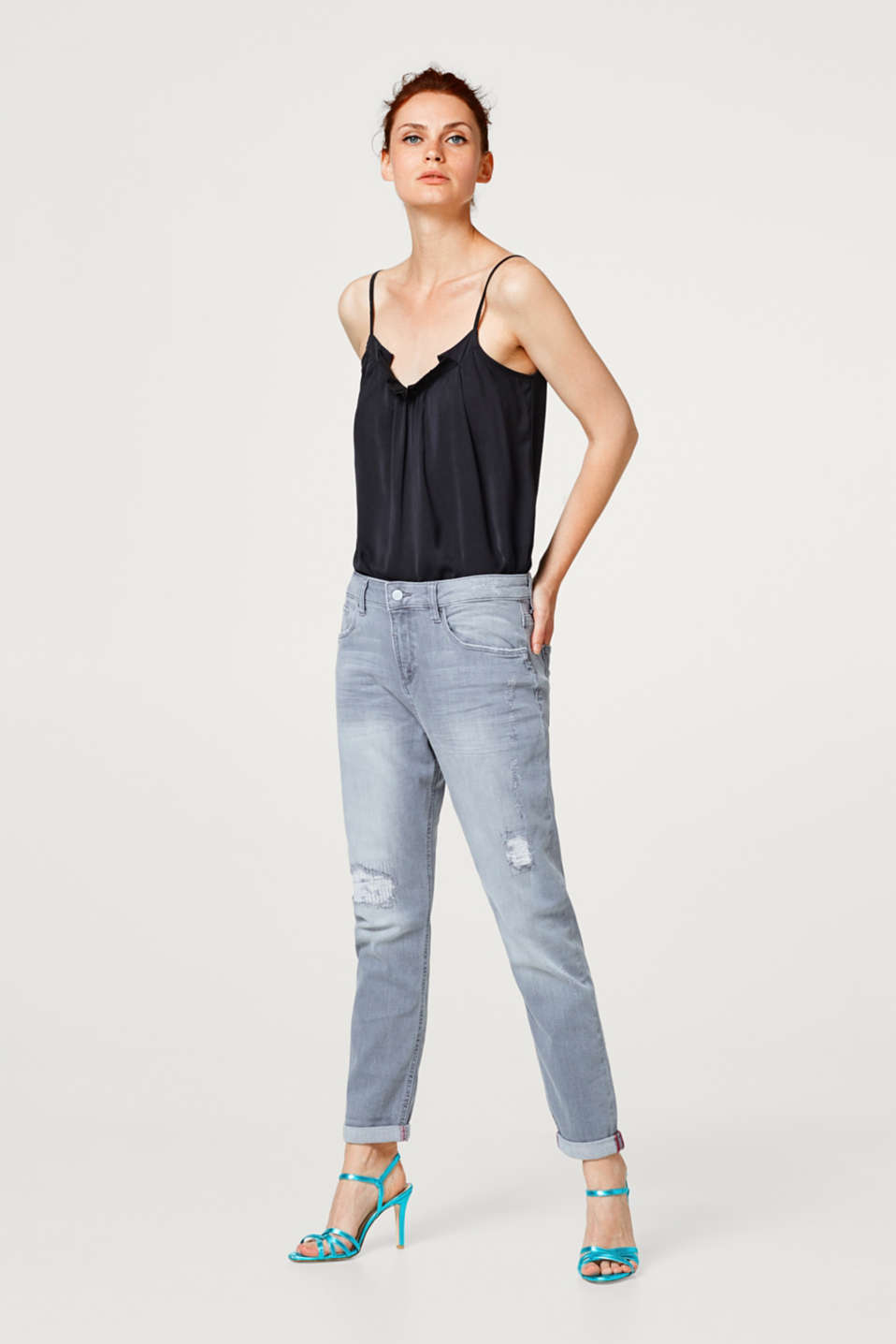 Esprit - Grijze stretchjeans met destroyed look