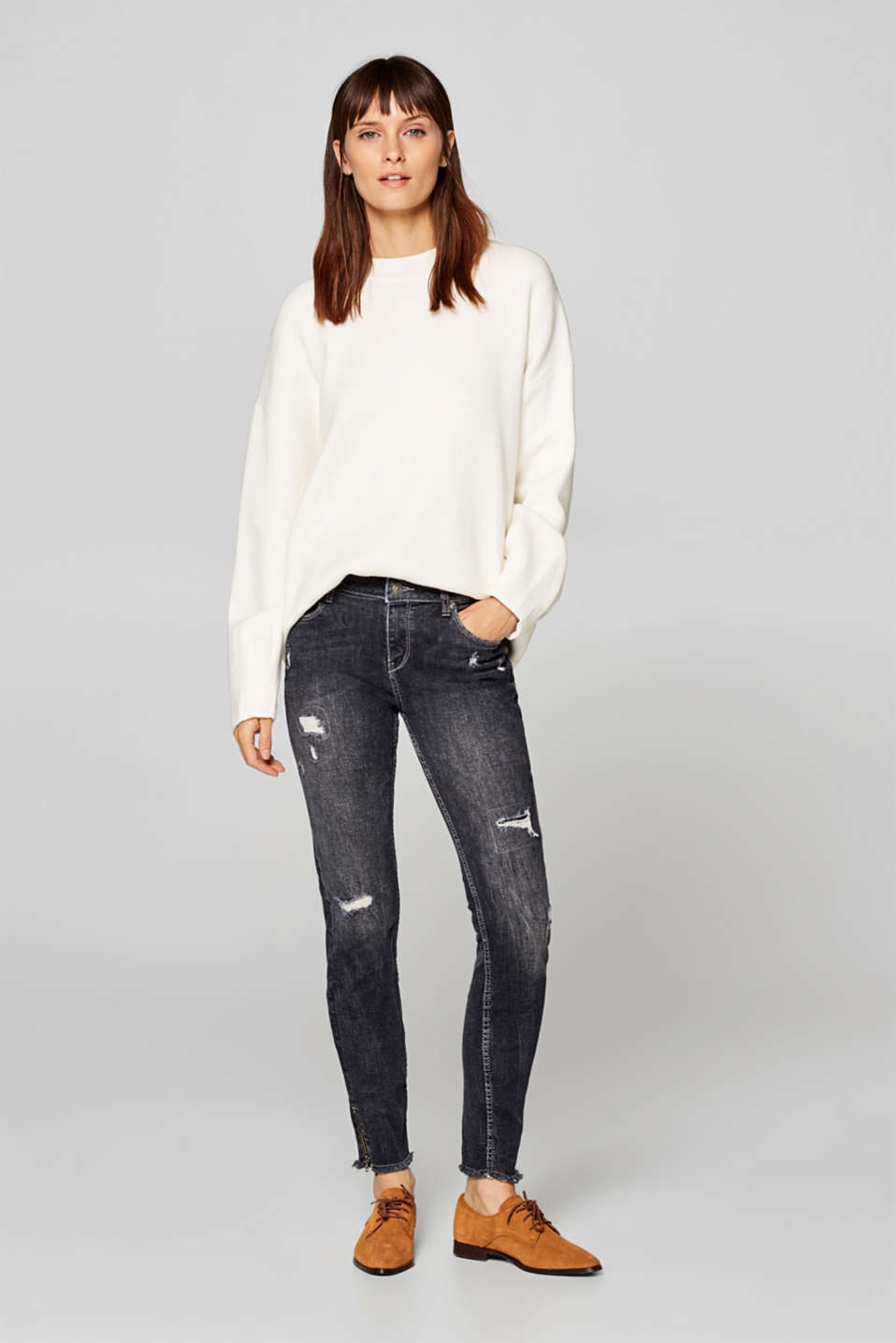 Esprit - Distressed stretch jeans with hem zips