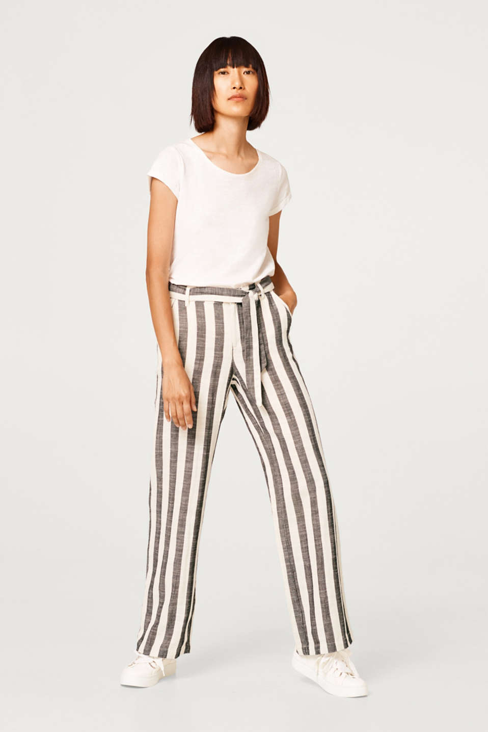 Esprit - With linen: casual striped trousers