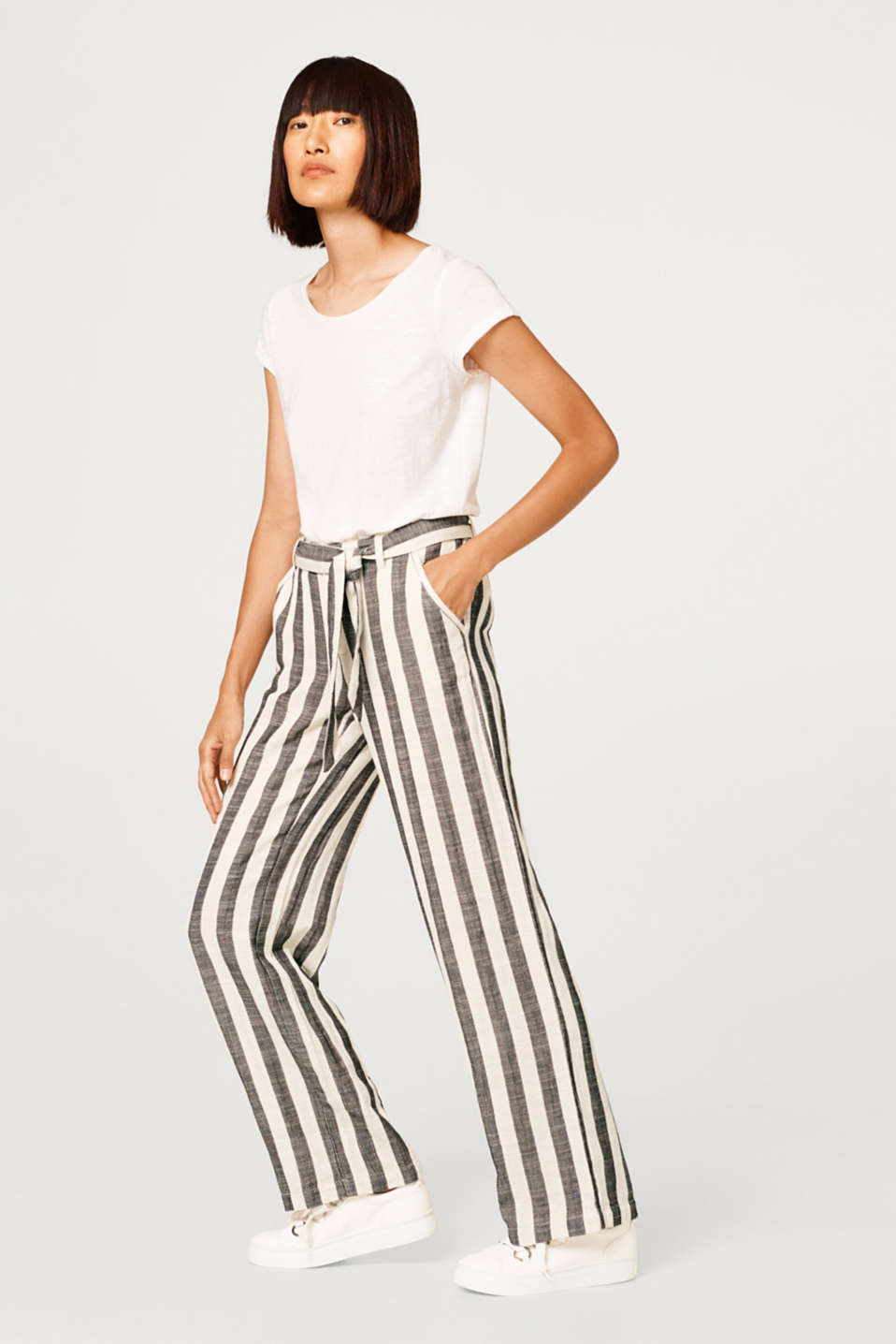 With linen: casual striped trousers