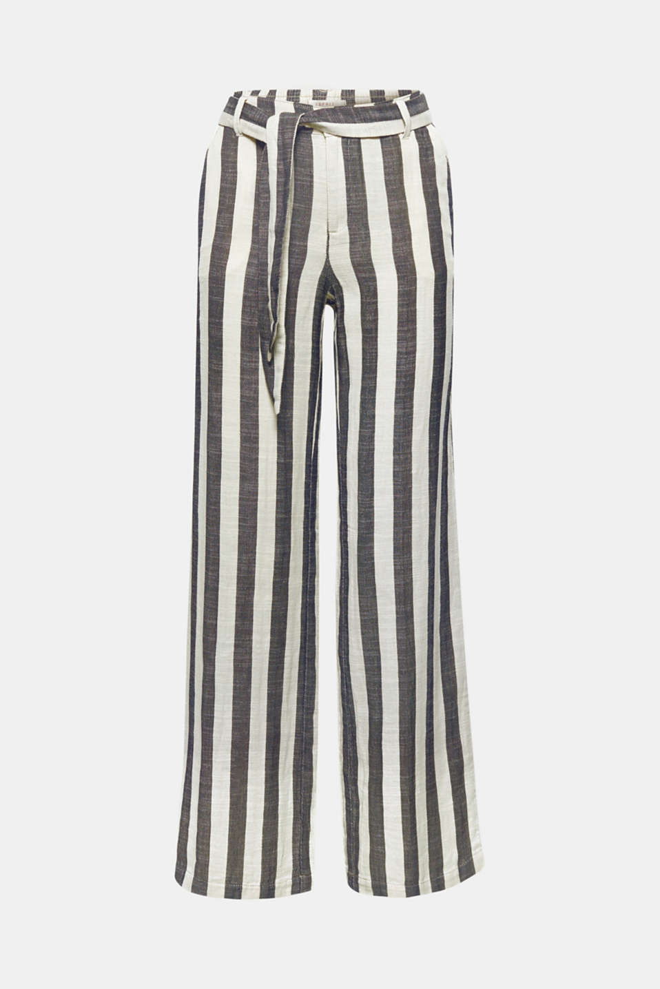 These trousers are very modern and wonderfully lightweight with block stripes, straight leg and a tie belt!