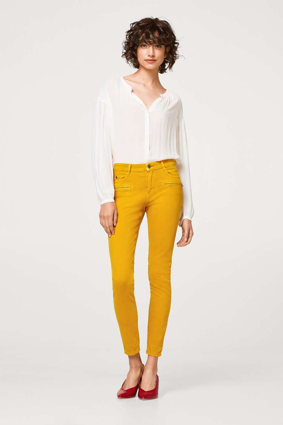 Esprit - Pantalon stretch à zips fantaisie