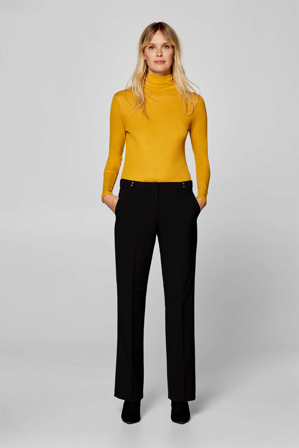Esprit - Stretch trousers with a waist pleat and decorative straps