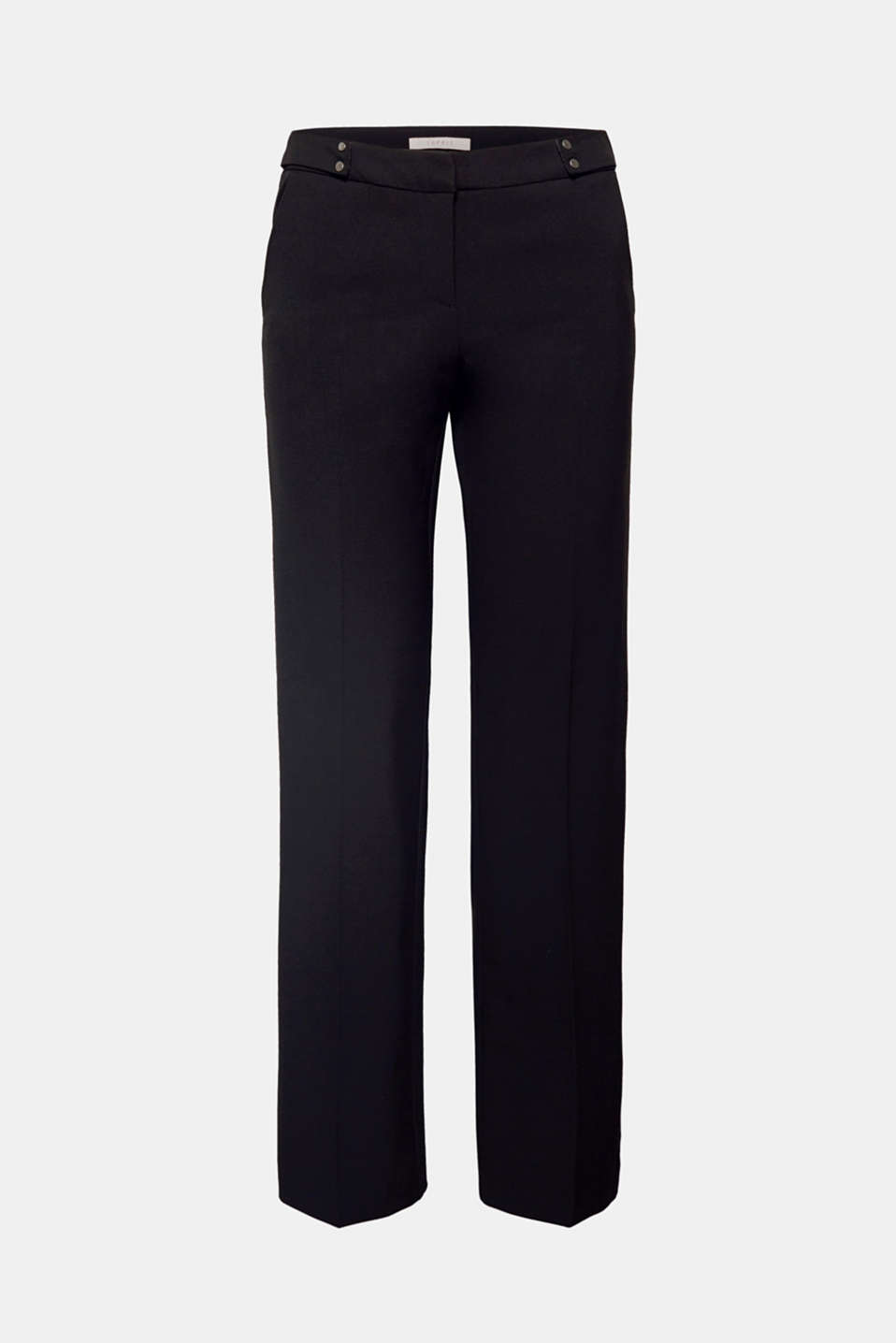 These lightweight stretch trousers are classic and stylish thanks to their straight hem width, the decorative straps and charming waist pleats.