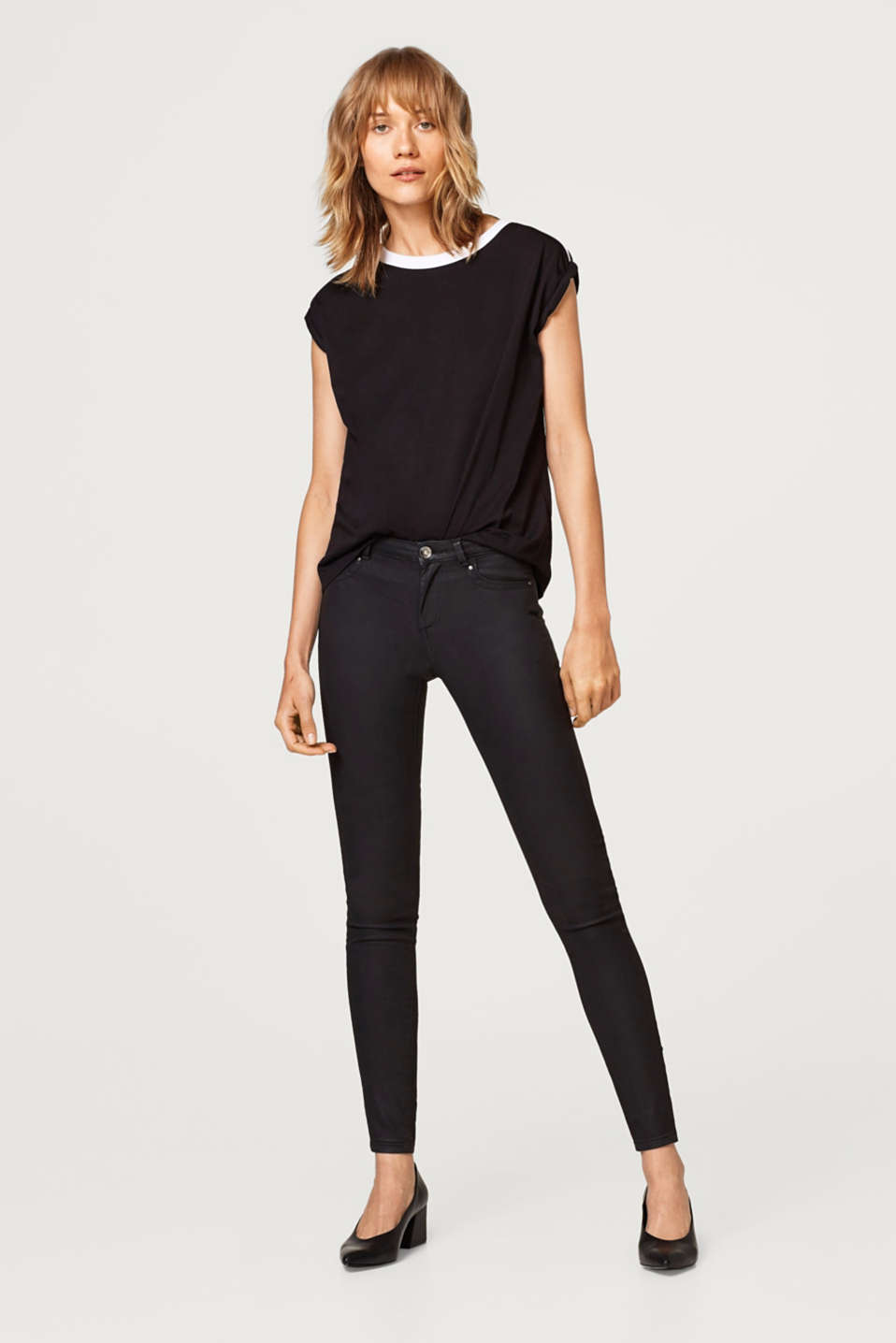 Esprit - Schmale Stretch-Pants im Coated-Look