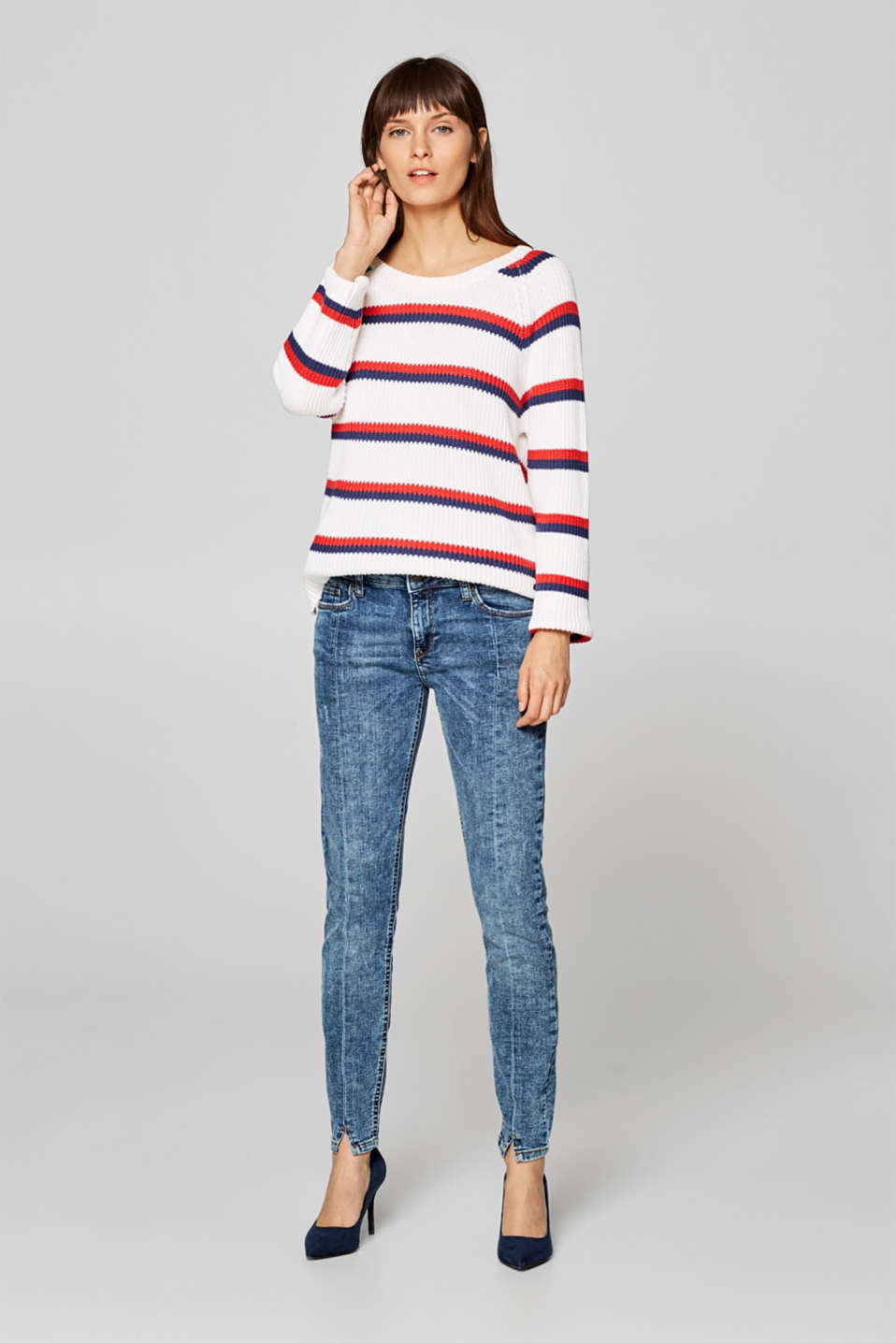 Esprit - Stretch jeans with hem slits