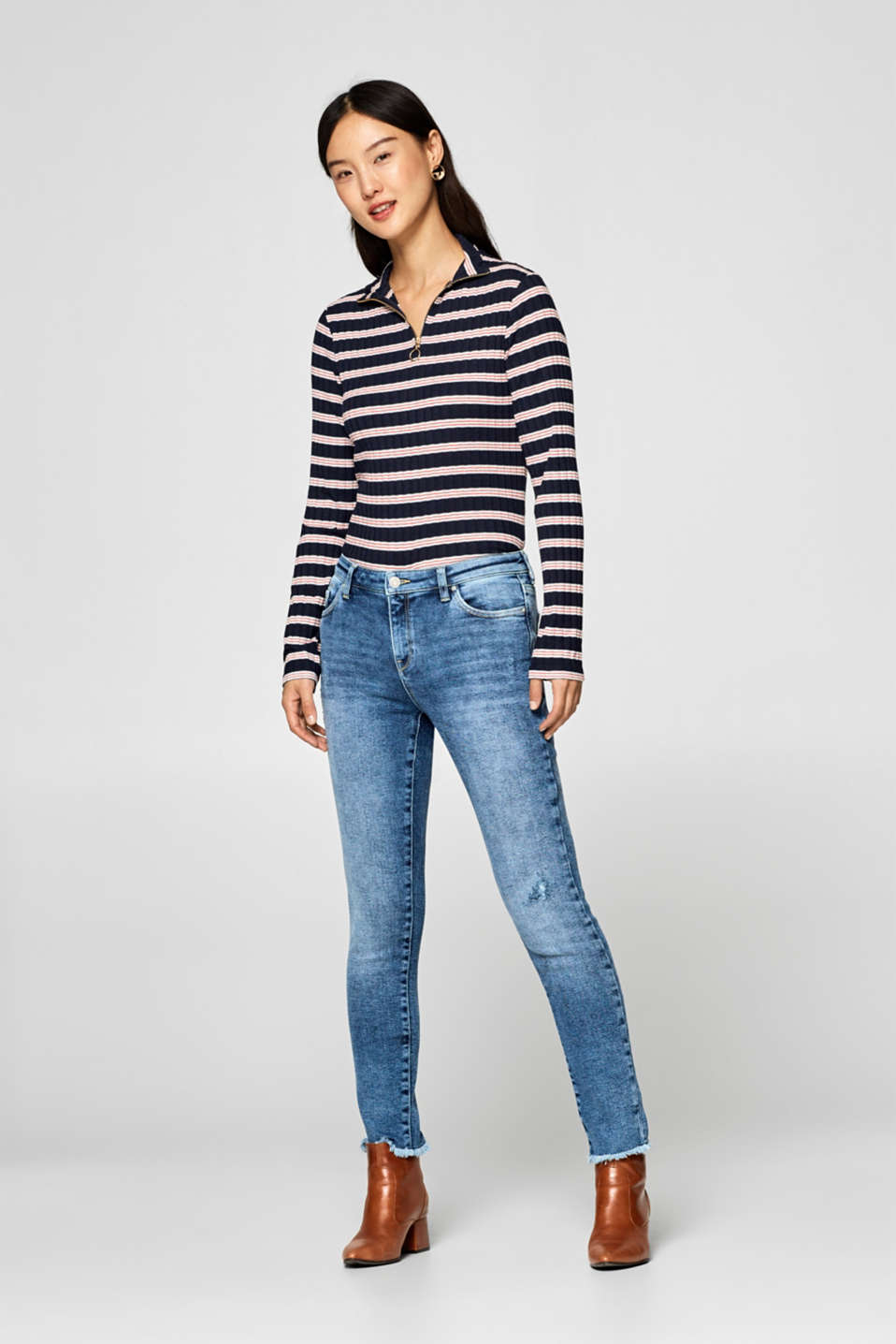 Esprit - Superstretchjeans i destroyed-look