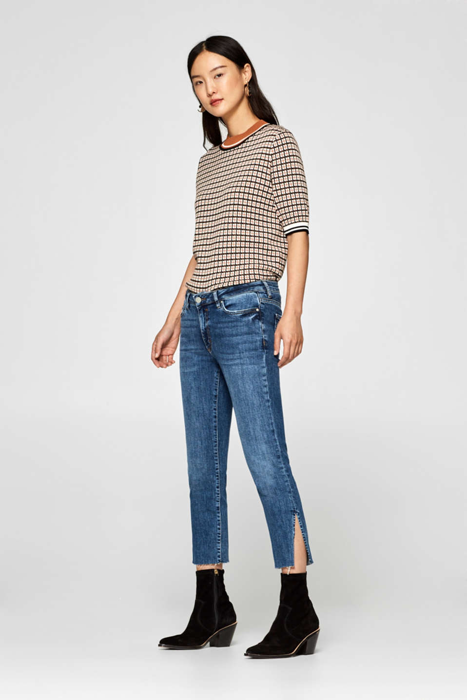Esprit - Cropped stretch jeans with hem slits