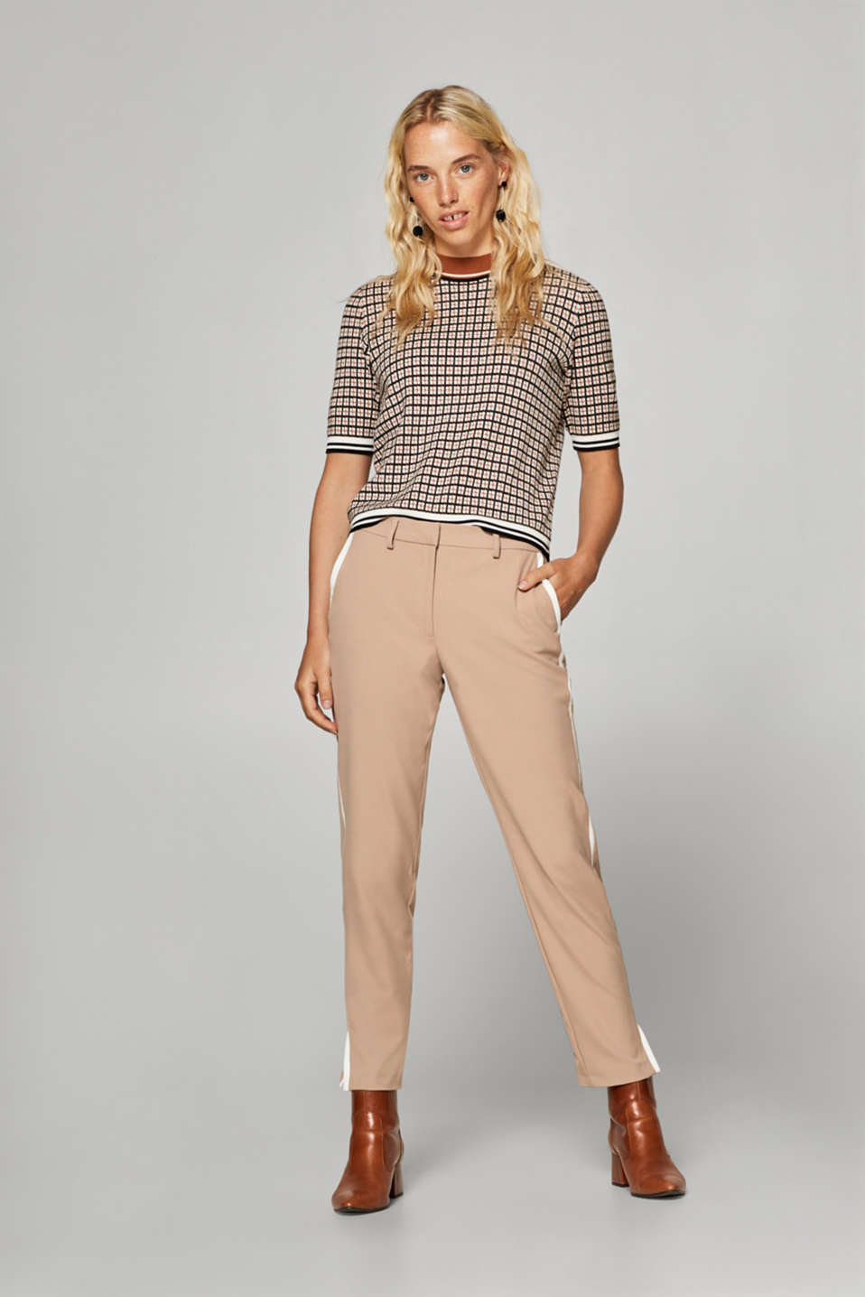 Esprit - Stretch-Pants mit Galonstreifen