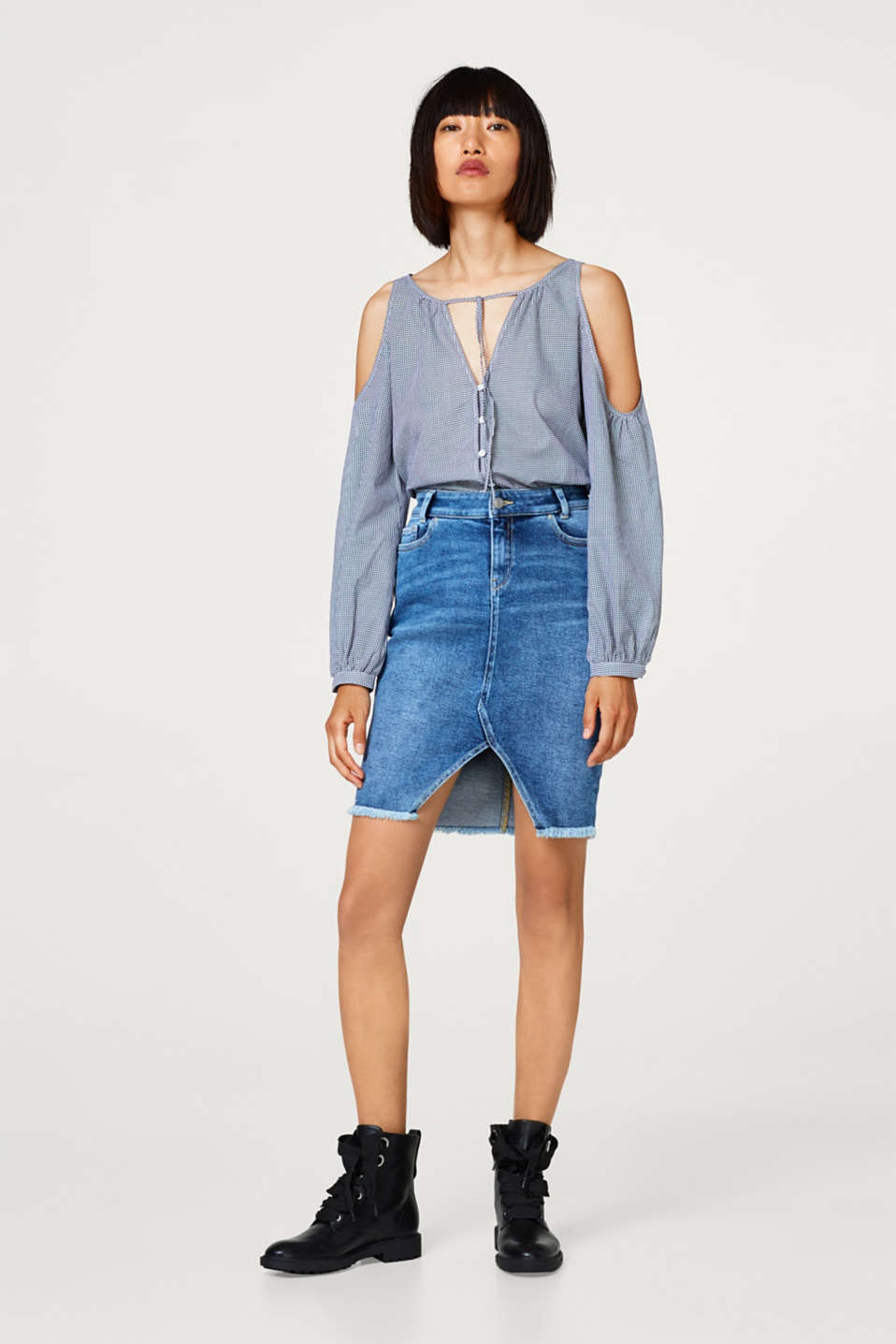 Esprit - Stretch denim skirt with a frayed hem