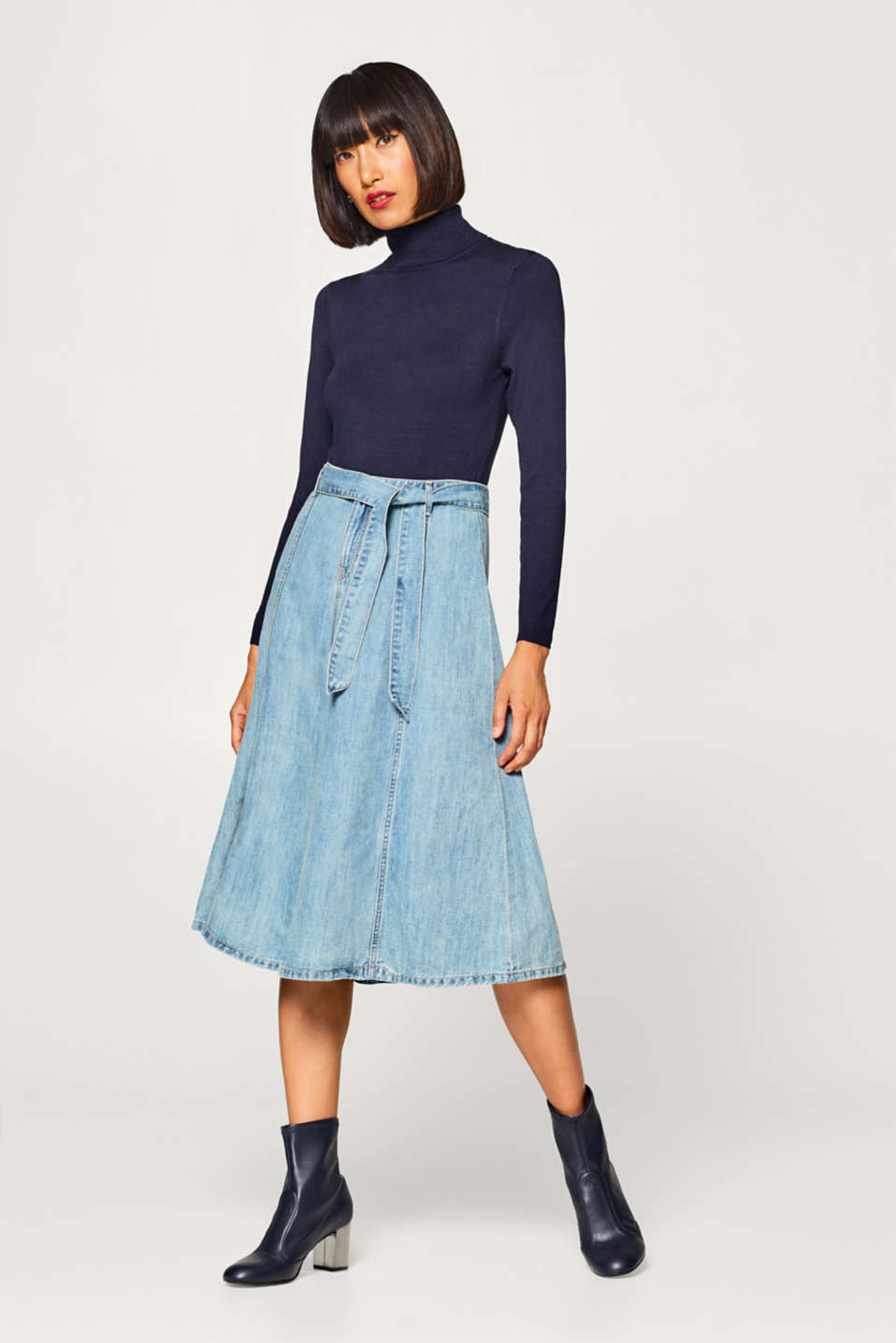 Esprit - With linen: Swirling denim skirt in an A-line