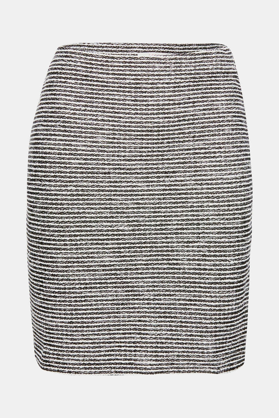Top comfort, top style: this pencil skirt in jersey with two-tone textured stripes in a summery, bouclé look offers both!