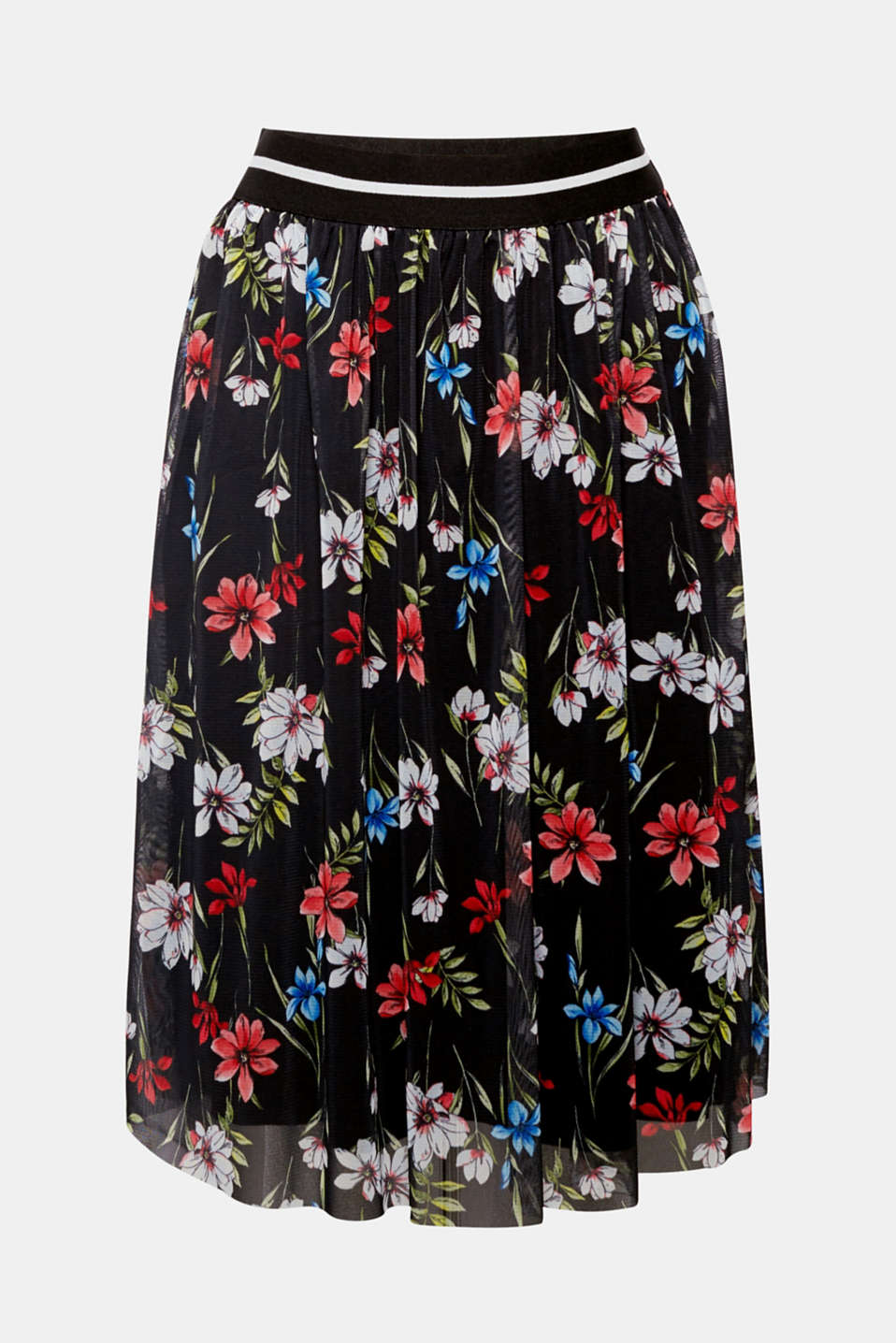 Your perfect summer skirt – with colourful flowers on delicate tulle, a stylish, swirling midi-length design and a comfortable elasticated waistband!