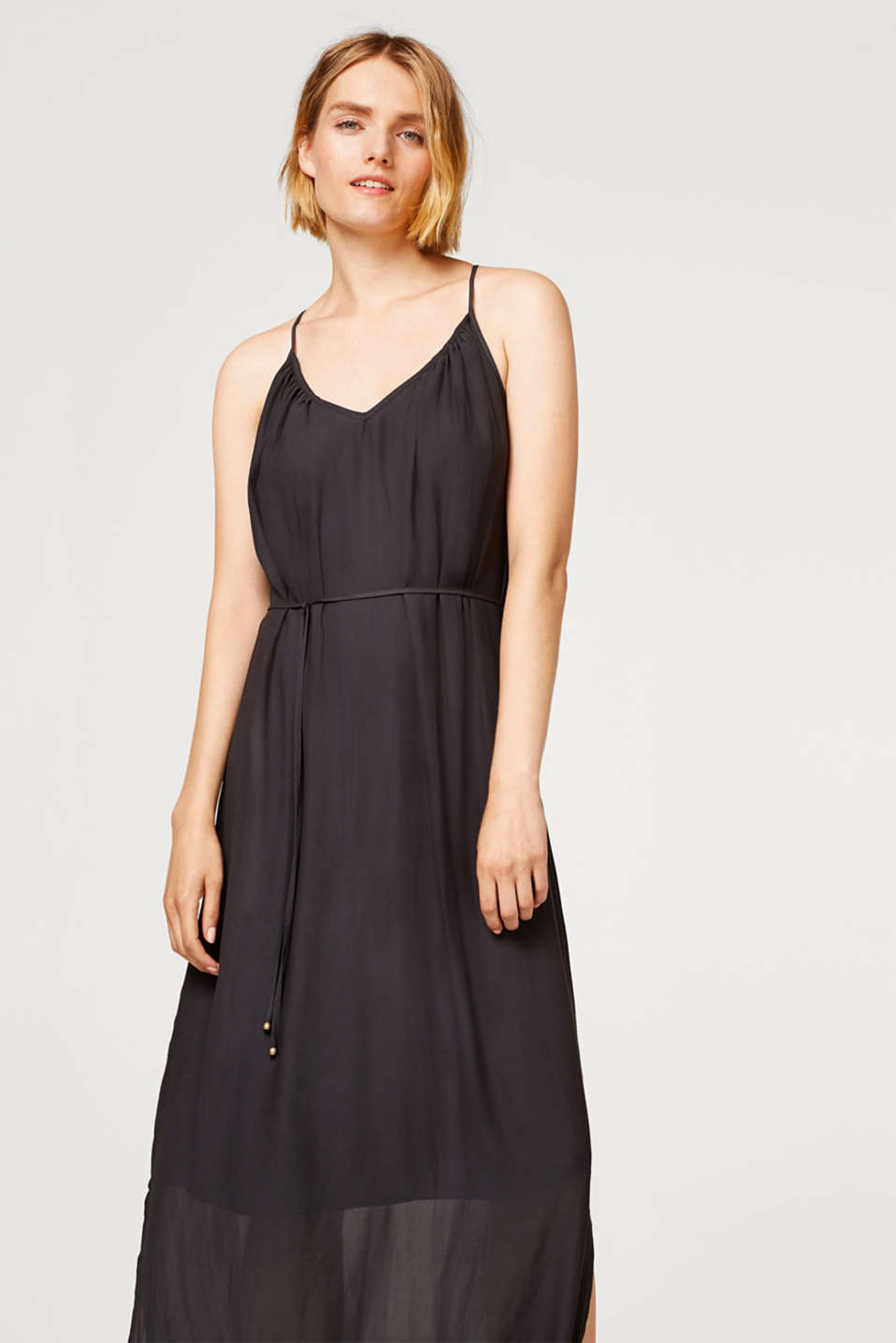 Esprit - Crêpe maxi dress with spaghetti straps
