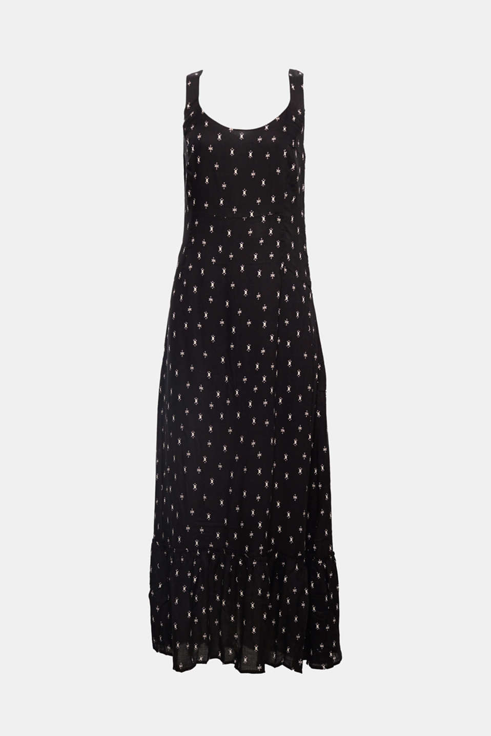 The original mini print, straps crossed over on the back and the wide hem flounce make this maxi dress a new highlight!