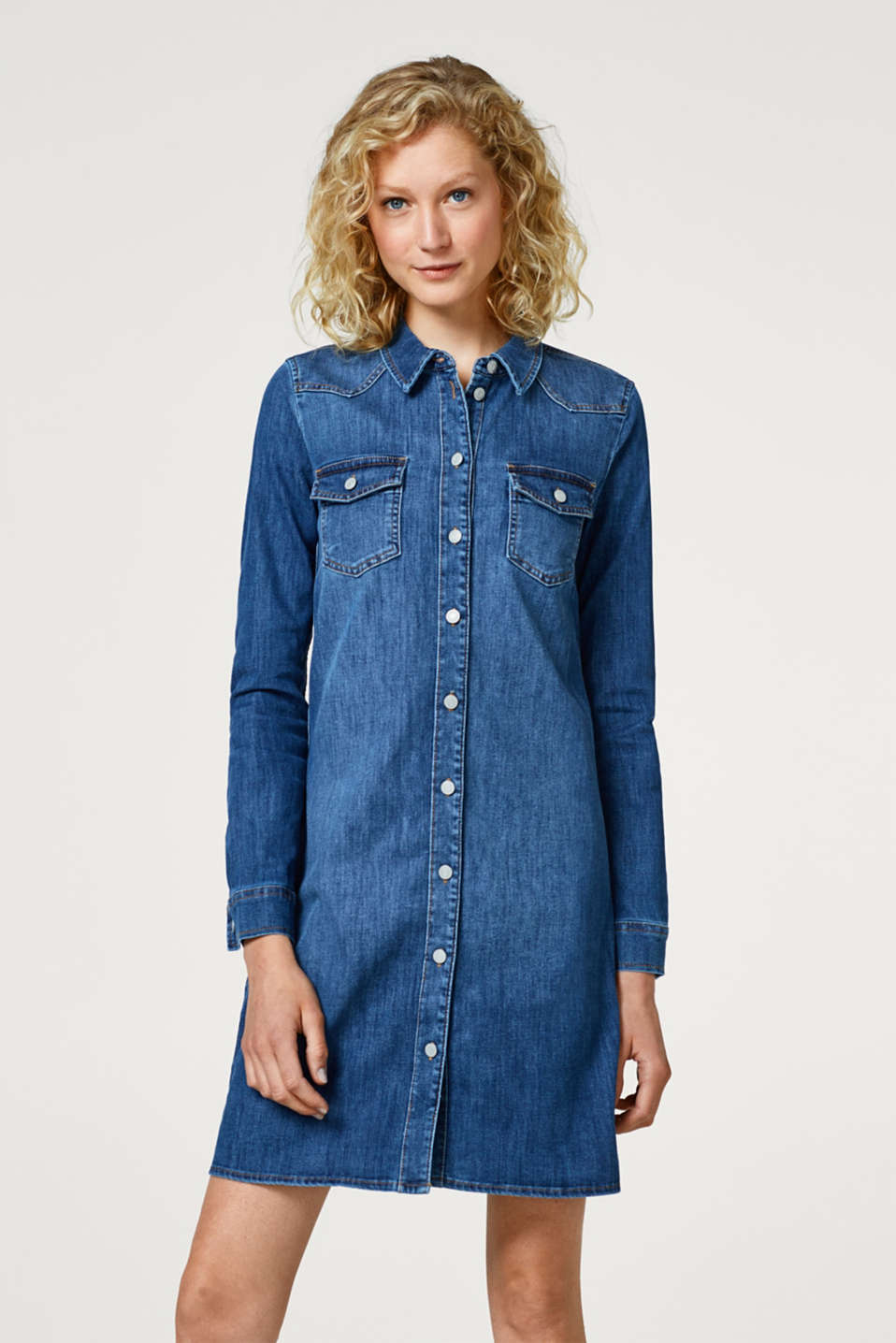 Esprit - Figure-hugging stretchy denim dress
